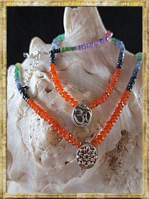 Chakras Necklaces: combination of carnelians,  rubies, sapphires , Indian emeralds, amethysts and citrines. Empowerment....