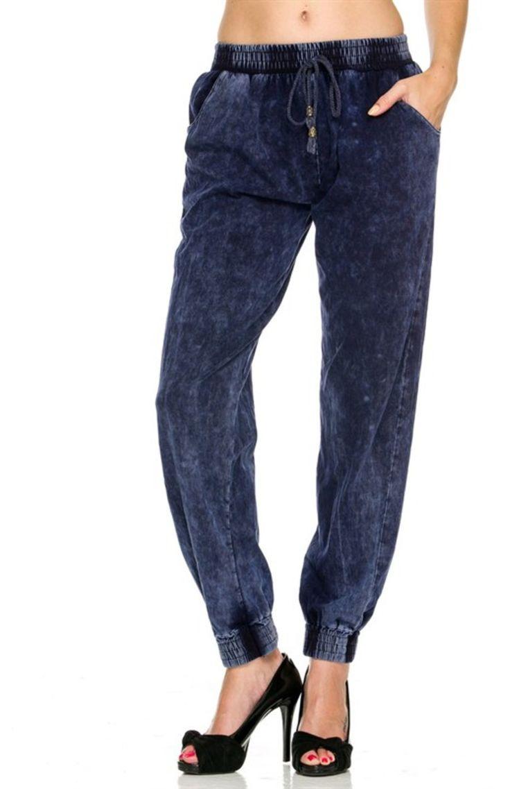 Trendy Denim Jogger Pants W/ Drawstring Waist