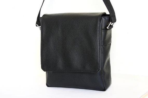 Photo of Men's shoulder bag in black vegan leather, briefcase, bag …