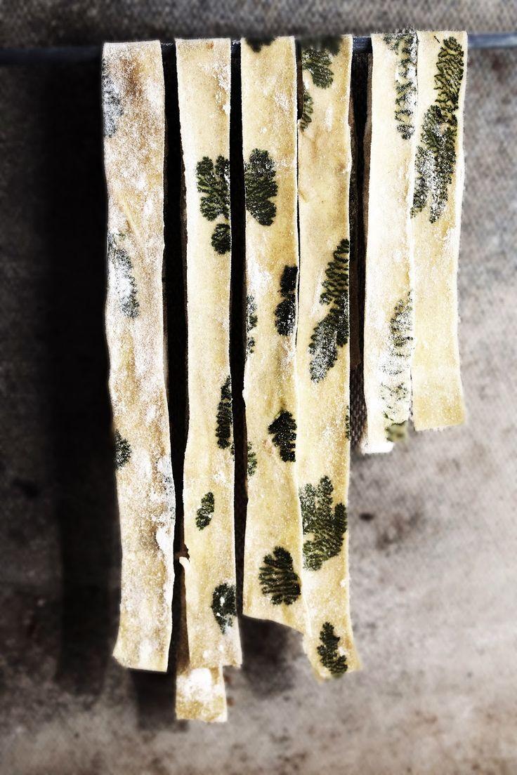 Herb laminated pasta. Love this, it's so pretty! Use a #vegan pasta dough. #Italian #lunch #recipe
