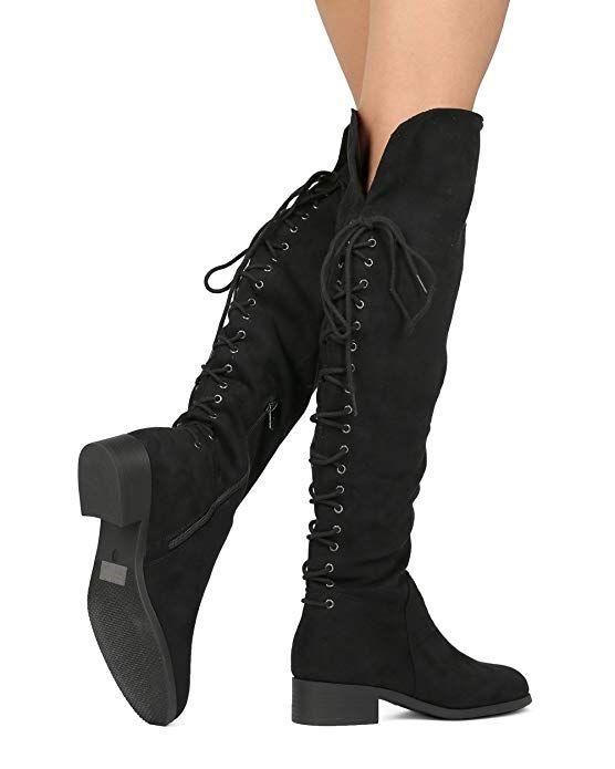 b3066420ab5c7 Amazon.com | WestCoast Women's Over The Knee Boots Back Corset Lace ...