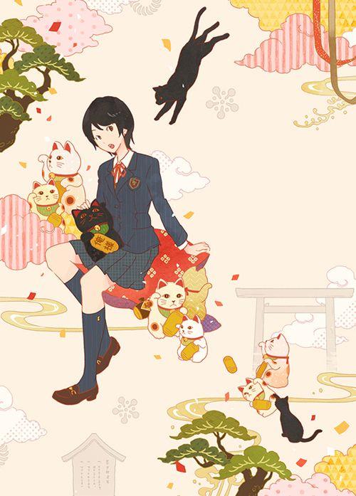 ポプラ社『招運来福! まねき猫事件ノート』(著:水生大海) 装画 I drew the cover illustration for the novel by Hiromi Mizuki, published by Poplar publishing. Next work