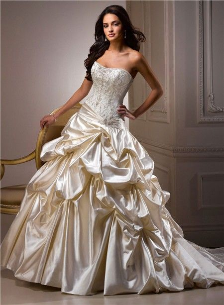 Fresh champagne color wedding dresses Ball Gown Sweetheart Champagne Colored Satin Embroidery Beaded Wedding
