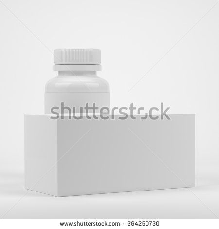 Blank package box and Blank pills container with blank label on white background