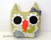 Jessie (Yellow and Gray Chevron and Floral Print Owl Pillow)