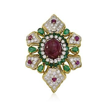 C. 1960 Vintage 17.90 ct. t.w. Ruby and 5.00 ct. t.w. Diamond Pin Pendant With Emeralds In 18kt Two-Tone Gold