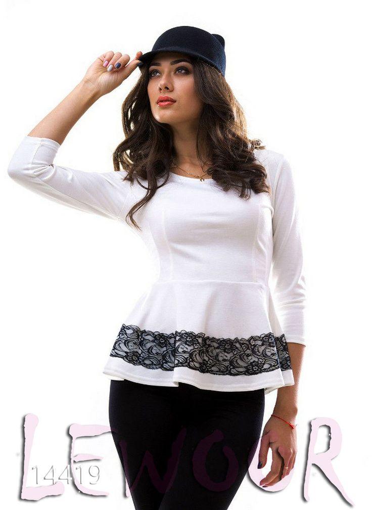 Костюмчик с баской и лосинами, трикотаж + кружево - купить оптом и в розницу, интернет-магазин женской одежды lewoor.com