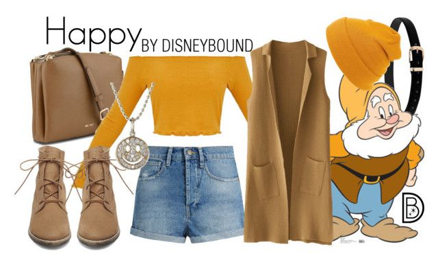 """Happy"" by leslieakay ❤ liked on Polyvore featuring Nine West, Raey, Steve Madden, Sydney Evan, disney, disneybound and disneycharacter"
