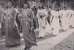 "Carolyn Polk, ""May Day Queen"" of 1946 with her court as they appeared in the October 1946 edition of the Howard University Bulletin. According to the bulletin, May Day celebrations, staged by the Physical Department for women, were a ""gigantic and..."