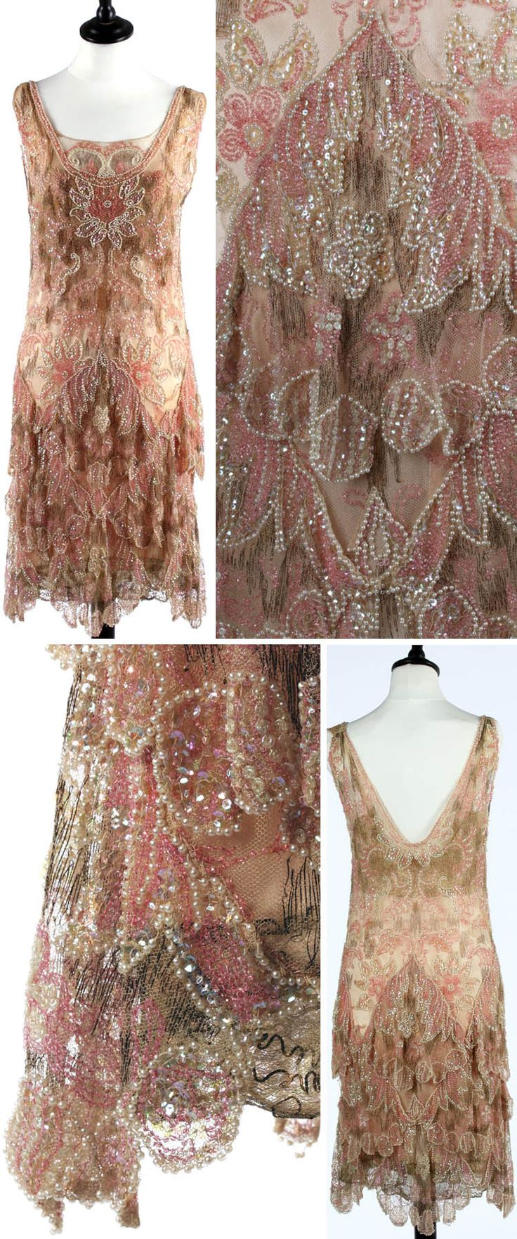 Evening dress, Callot Soeurs, 1927. Pink and gold beaded and embroidered flapper dress. Oyster pink satin slip. Pale rose tulle worked with large flowerheads in opalescent sequins, pink seed beads, and pearls. Ground threaded with gilt strip. Skirt falls in petal-like tiers. Via Kerry Taylor Auctions.