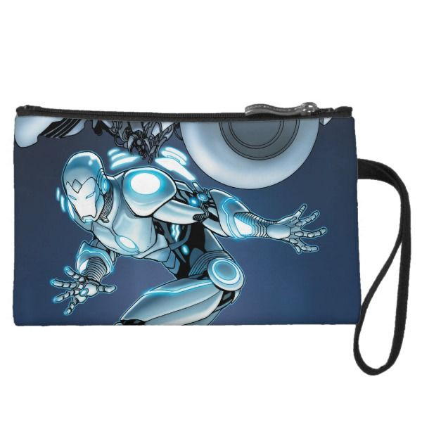 Superior Iron Man Suit Up Wristlet -  Check out Superior Iron Man fully suited up, suspending from a machine.        ... #custom #beach themed #gift #bagettes  bag design by #MarvelNow - #bagettes  #bag #superiorironman #supersuit #tonystark #superhero #comicbook #marvelcomics