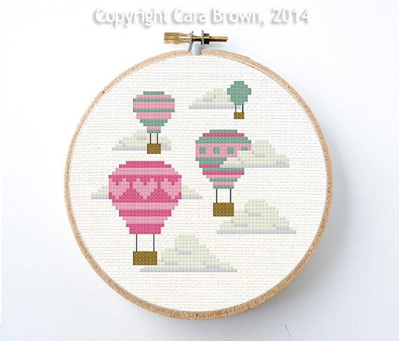 Hot Air Balloons Cross Stitch Pattern Instant by TheElfinForest, $5.00
