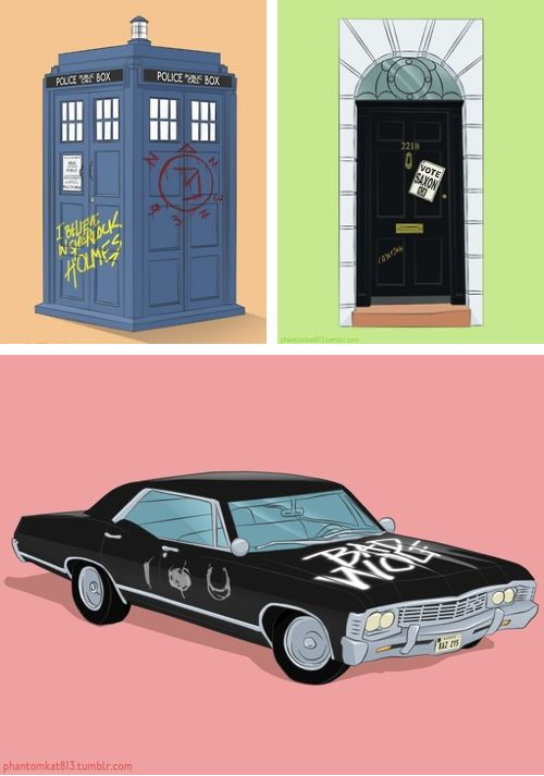 Are You Superwholocked? Doctor Who/Sherlock/Supernatural Mashup TARDIS - 221B Baker Street - 1967 Impala - Bad Wolf - Vote Saxon - I believe in Sherlock - Angel removal sigil