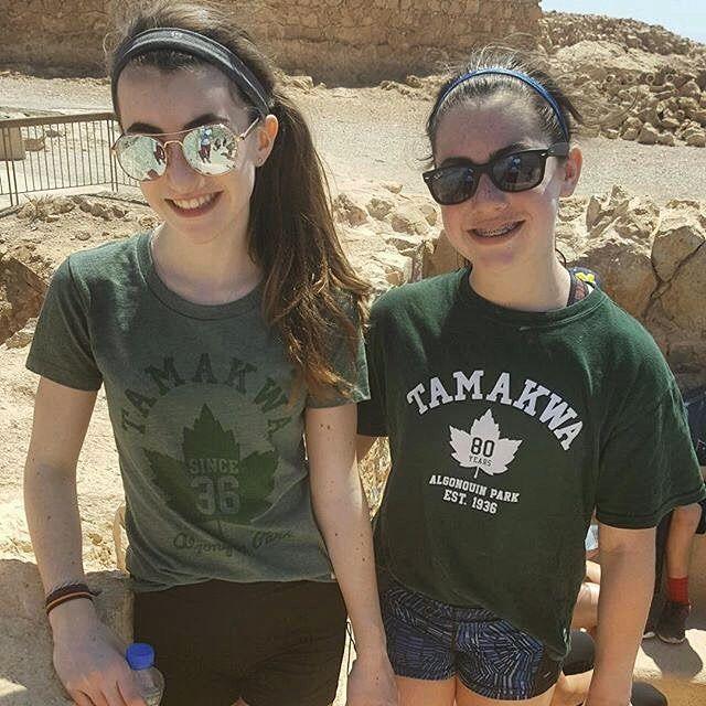 @lillianbeavers_ and @sophia.aaron31 showing their #TamakwaSpirit on mount Masada!! Have a wonderful time girls #tamakwatravels #tamakwatshirt