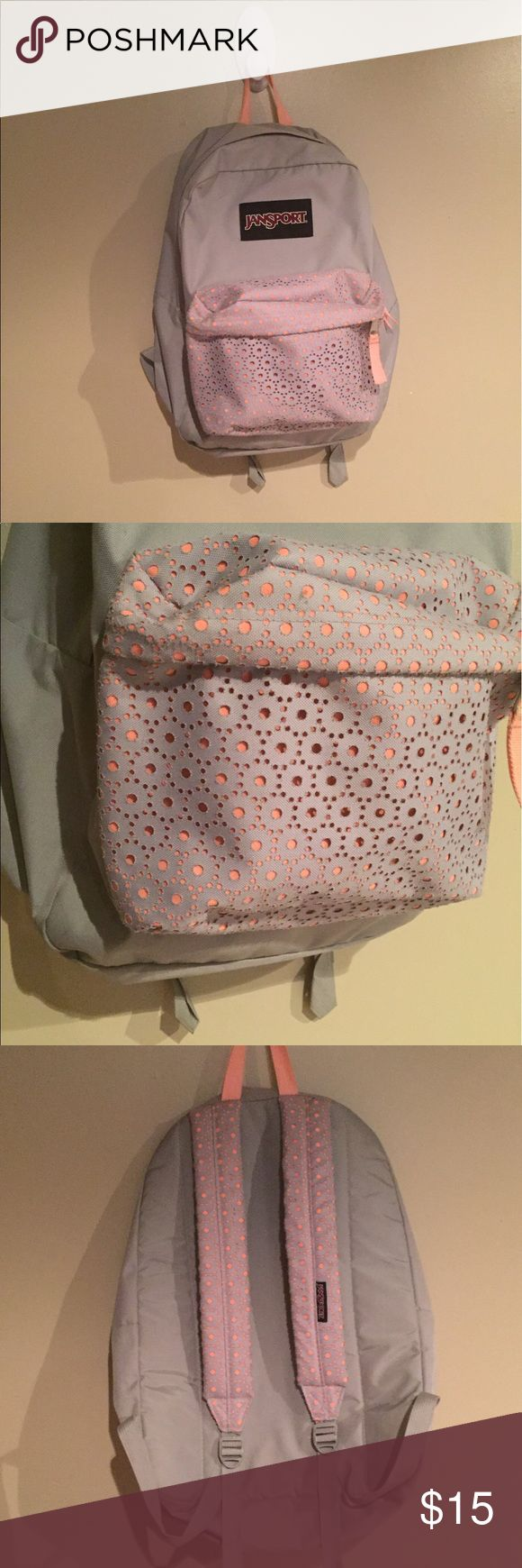 Lace jansport backpack Like new without tags beautiful and feminine jansport backpack. Has lace detail on straps and front pocket to make this bag special. Bag color is a light gray and the color underneath the lace is a hot pink Jansport Bags Backpacks