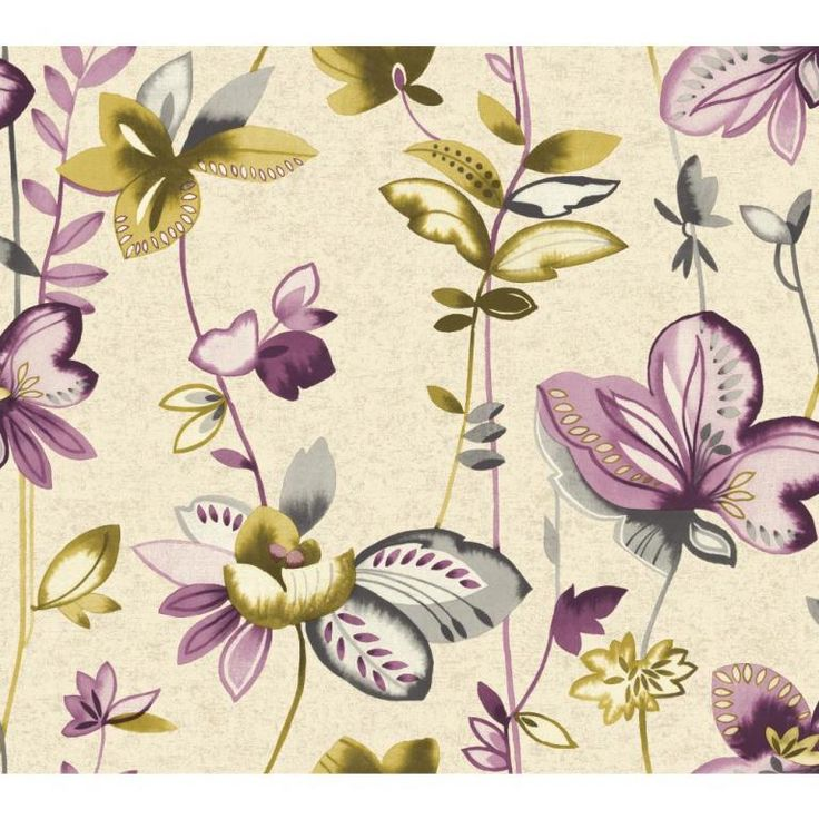 Watercolour inspired floral wallpaper in soft purples, cream and green, from the Watercolours collection by Carey Lind Designs, WT4540 by York Wallcoverings. Available through Guthrie Bowron stores in New Zealand.