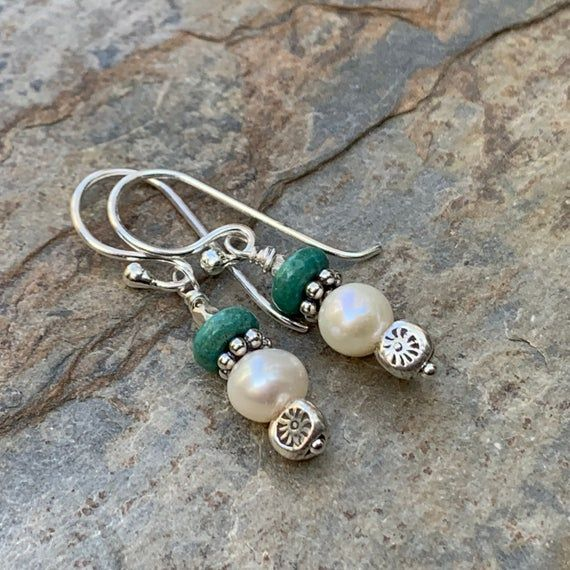 Hill Tribe Silver and Handmade Glass Bead DangleDrop Earrings with Sterling Silver Ear Wires