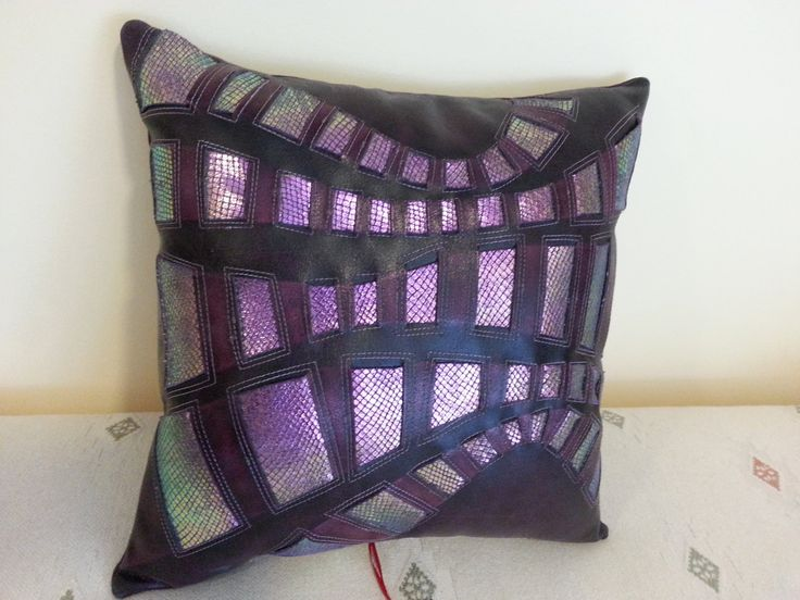 Leather throw pillow/purple by Sewing4YouStudio on Etsy