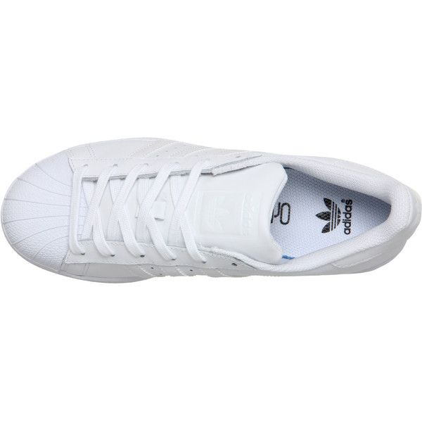 Adidas Superstar Gs ($74) ❤ liked on Polyvore featuring shoes, sneakers, adidas shoes, stripe shoes, retro shoes, white shoes and adidas