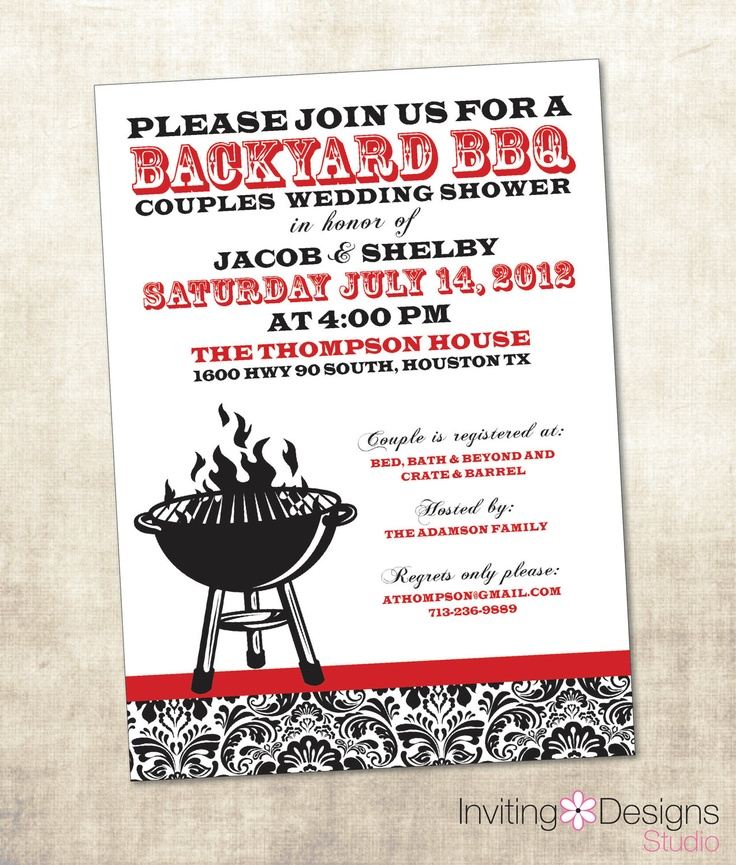 BBQ Wedding Shower Invitation, Couples Shower Invitation (PRINTABLE FILE). $16.50, via Etsy.
