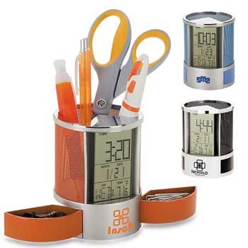 We provide the best and most affordable quality customized Nimble Multifunction Pen Holder Clock, custom Nimble Multifunction Pen Holder Clock with your logo. URL: http://indent.seeit.co.nz/nimble-multifunction-holder-clock-p-3033.html