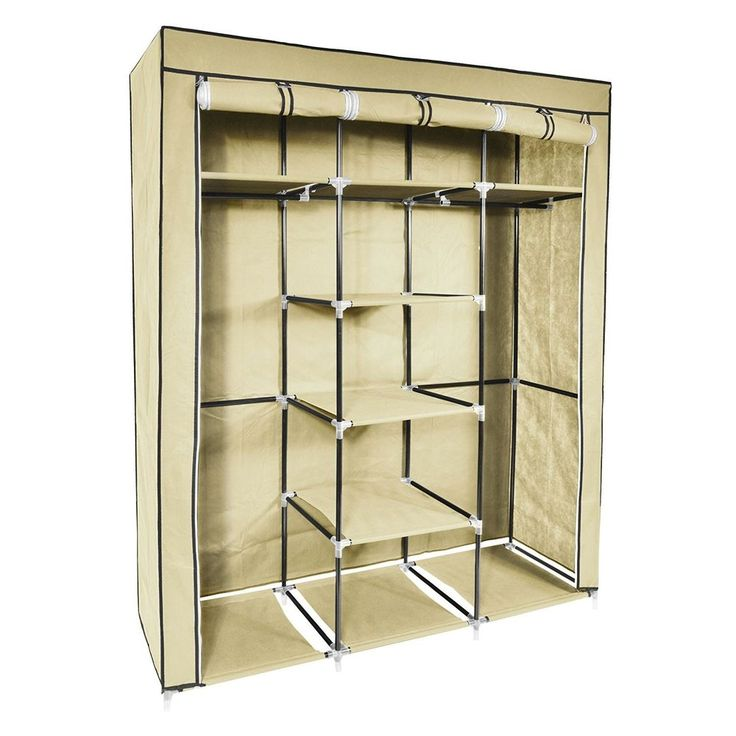 #ebay#Triple#Canvas Wardrobe Closet#Beige Shelving#Organiser Foldable 3 Door Rail#Coat
