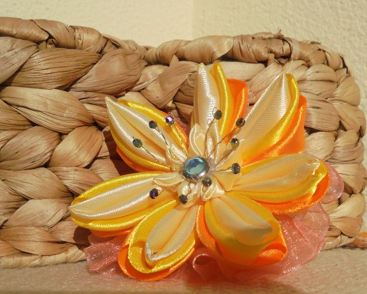 Moje rękodzieło / Kanzashi / gumka do włosów dla dziewczynki // My crafts / Kanzashi / elastic hair for girls