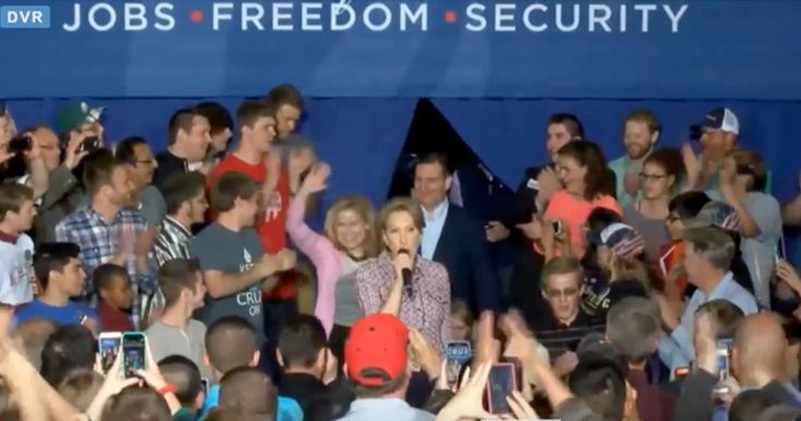 """Watch: Carly Fiorina Falls Off Stage in Indiana 