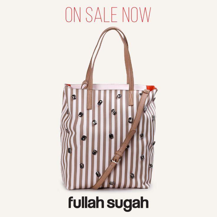 On Sale Now! Fullah Sugah Ριγέ shopper με κρύσταλλα   1434104514 #sales #fashion #bags #trends #style #fullah_sugah