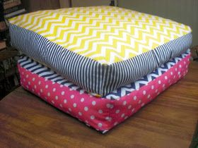Large floor cushions. Two Plus Four - formerly KdBuggie Boutique: Playroom Organization Inspiration.( http://ovenlovinblog.com/diy-giant-chevron-floor-pillows/)