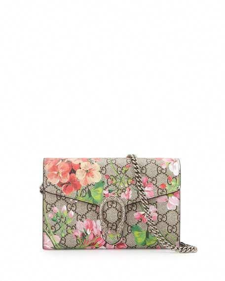 5a9a5f66349 Get free shipping on Gucci GG Blooms Dionysus Wallet on a Chain at Neiman  Marcus.