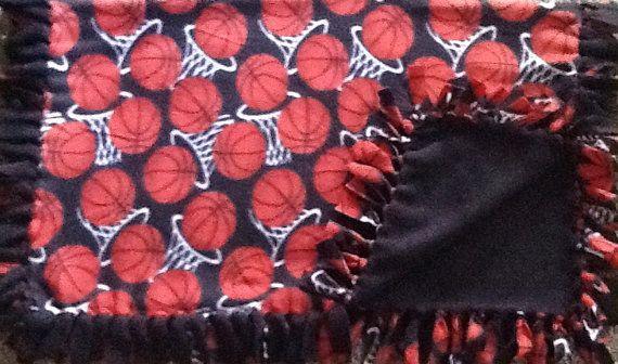 Basketball and hoops fleece tie blanket, reversible tie blanket