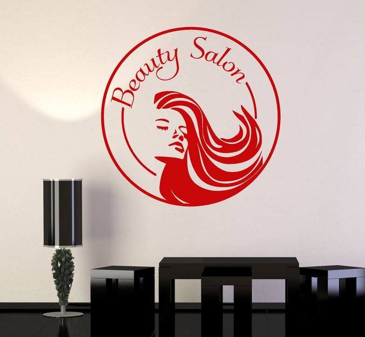 Vinyl Wall Decal Beauty Salon Logo Stylist Woman Spa