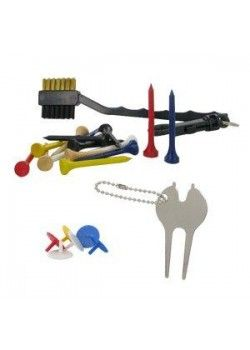 The TeeMate Golf Accessory Pack is the perfect set of accessories for your next golf game or practice session, or a great gift for your favorite golfer. It includes a spike wrench, divot tool, ball marks, wooden tees, and a two-sided cleaning brush with a brass side for cleaning metal clubs and a fiber side for cleaning more delicate golf items. Tee off