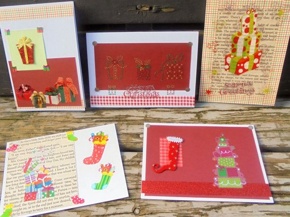 Christmas Gifts  set of 5 handmade cards by RogueKissedCraft