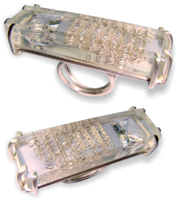 by CJ Jewellery Design   Sterling silver Ring, clear resin, emerald cut Zirconia and silver crochet  Anel em prata, resina, zircónia com corte de esmeralda e croché em prata  https://www.facebook.com/cjjewellerydesign http://cjjewellerydesign.com/ info@cjjewellerydesign.com