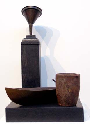 Peter Tilley  The Noon of the Night 2005  tin funnel, bronze, ceramic, timber 40 x 25 x 25cm
