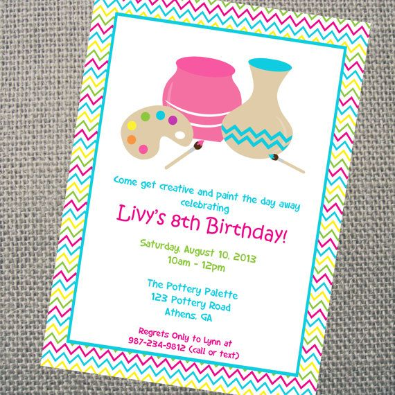 Custom Printable Pottery Party Invitation.  Personalized Arts and Crafts Painting Pottery  Party Invitation.