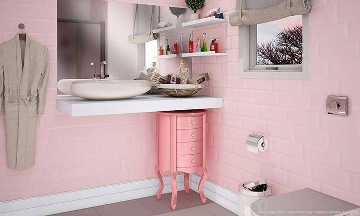 Banheiro rosa decorado. Clique na imagem para saber mais.