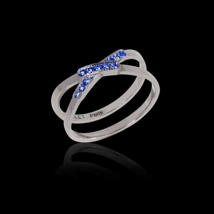 Bague en or 18K et déclinaison de pavage (diamant, diamant noir, rubis, émeraude, saphir bleu, saphir rose) - Maison Jaubalet #tifène #bague #fiançailles #saphirbleu #orblanc