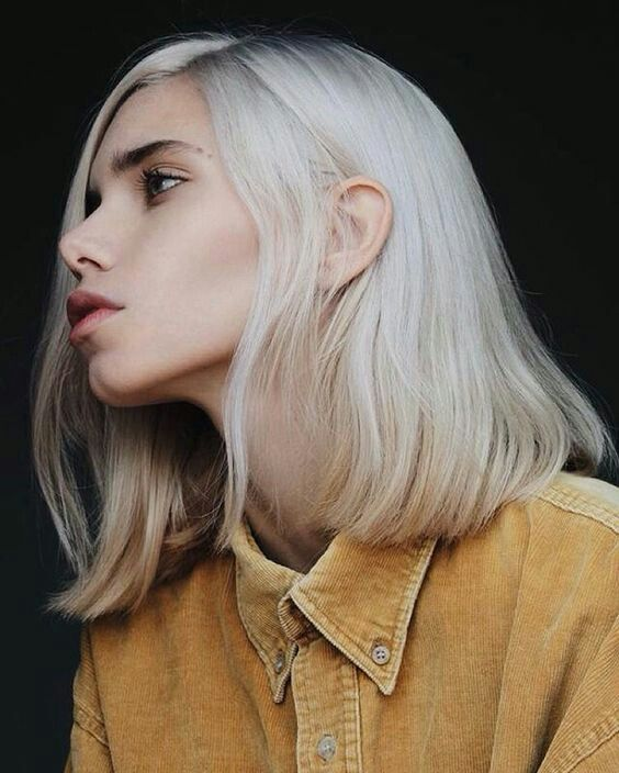 white hair | white bobs | short cuts | faces | models | jawline | collared shirts | mustard yellow button up | pale | features