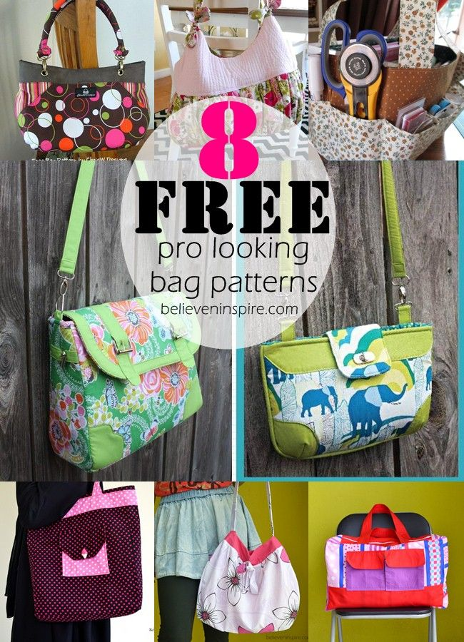 8 free pofessional looking bag patterns - Grab them NOW! on believeninspire.com