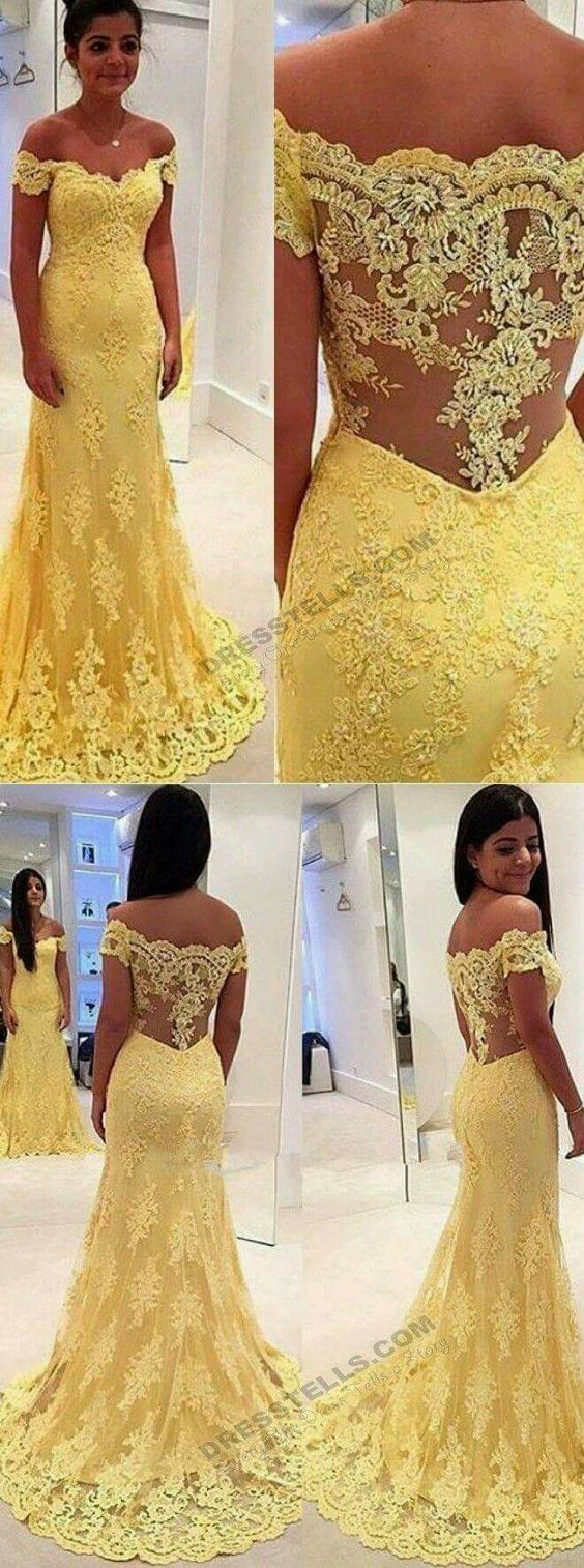 Sexy Mermaid Prom Dresses,Yellow Lace Evening Dresses,Off the Shoulder Dresses