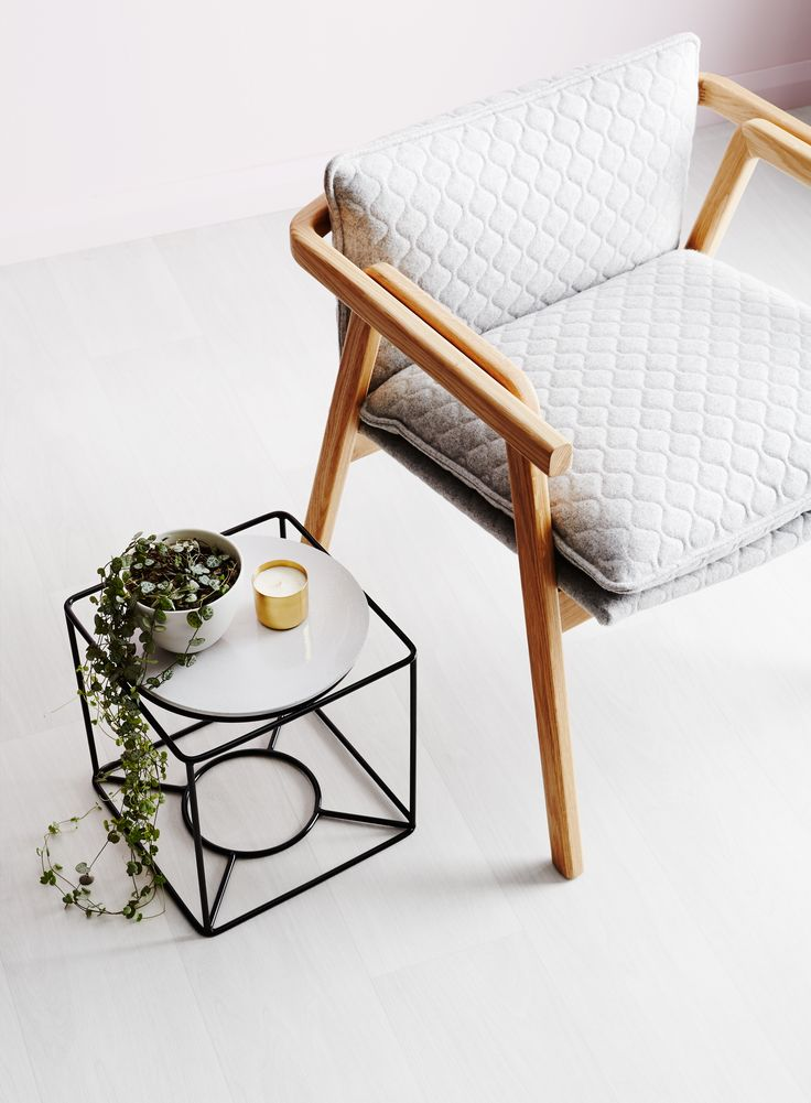 Ivy Muse HOMEBODY Collection; 'Cubby' plant stand in Black with ceramic 'Table Top' in Marshmallow