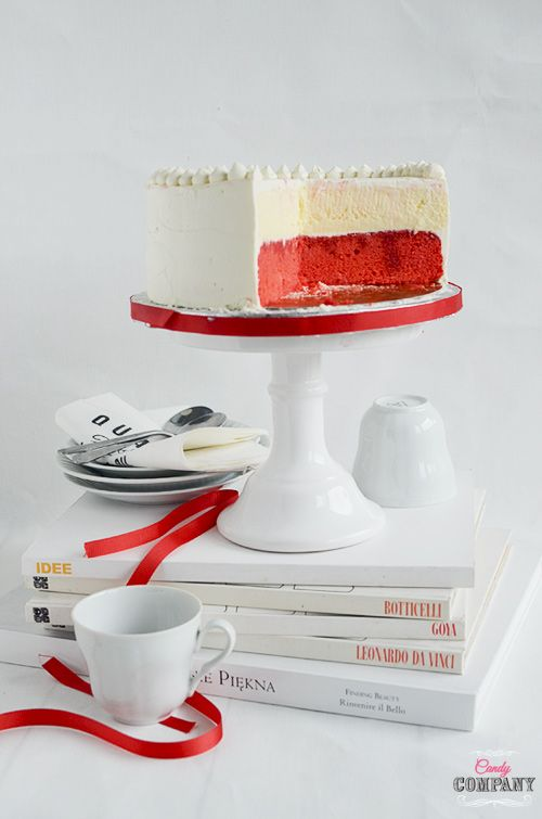 White & red cheesecake cake for Polish Independence day, moist and light this cake is perfect for any occasion.