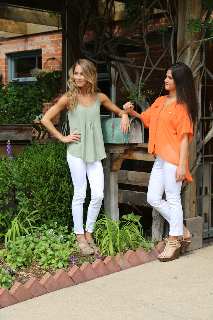 White Skinny Jeans by IT!- $78  Orange Blouse- $30  Sage Cami- $34