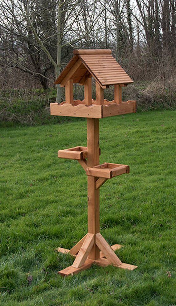 Triple Bird Table Wooden Bird Feeders Birds Bird Tables Wooden