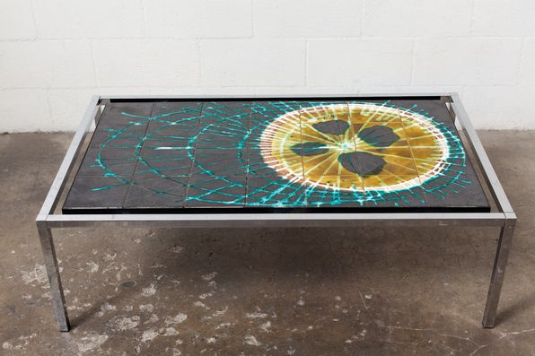70'S TILE AND CHROME COFFEE TABLE