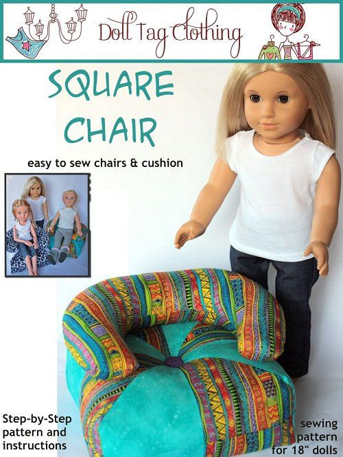 Doll Tag Clothing Square Chair Furniture Pattern For 18 Inch American Girl Dolls