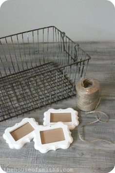 Labeling Idea - Wire Basket Storage with Decorative Frame Labels and An Office Update